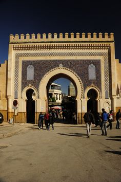 """Bab Bou Jeloud, """"The Blue Gate"""" of Fez. Photo courtesy of Jim See, AIA and Edith Cherry, FAIA."""