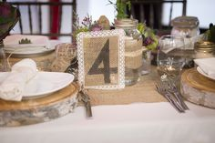 DIY Burlap Lace Table Number    www.WeddingGirl.ca