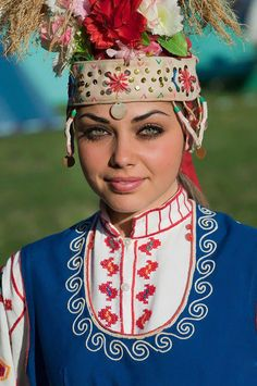 Bulgarian traditional outfit. But her makeup on spot ✨