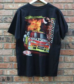 Mens Throwback Jeff Burton CAT Racing Nascar T-Shirt