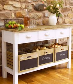 I've just found French Farmhouse Sideboard. This Glorious Rustic French Farmhouse Country style Furniture is this very stylish and Practical Sideboard With Three Wide Drawers And 3 deep storage crates. Kitchen Sideboard, Farmhouse Kitchen Tables, Country Kitchen, Kitchen Dining, Kitchen Decor, Kitchen Ideas, Kitchen Island, Sideboard Ideas, Kitchen Cart