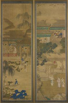 TWO PAINTED SILK PANELS  QING DYNASTY, 18TH / 19TH CENTURY ink and color on silk, each painted with scenes of scholars and ladies in pavilions, all surrounded by trees, rockwork and foliage, mounted and framed  Height 64 in., 162.6 cm; Width 19 in., 48.3 cm