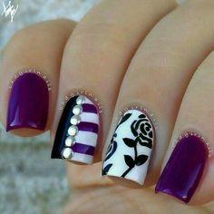 purple, black & white floral studded