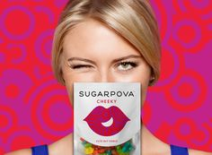 RED ANTLER - via Behance  Brooklyn, NY, USA    Sugarpova brings a new level of sophistication and quality to the gummy candy market, without losing sight of the playful nature of the product. The brand needed to communicate this balance by being fashionable, fresh and fun, just like Maria Sharapova.
