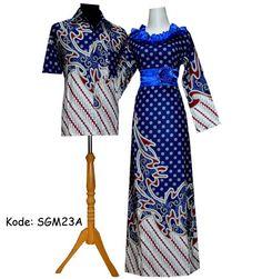 gamis batik sarimbit biru