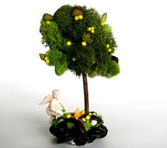 Miniature Lemon Tree and Fire Pit Fairy Garden by EnchantedHomes