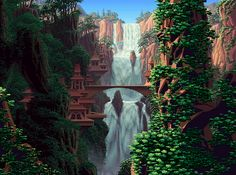 Jungle Waterfalls(Elvish Falls - Morning/Afternoon/Rain/Twilight) Pixel Artist: Mark Ferrari Source: markferrari.com GIFs were made from the True 8-bit Color Cycling Art Gallery (HTML5) Gallery offers: smoother animation than the GIFs adjustable cycle speed (25%-400%) complete 256 color palette (hover over it to see where the colors are used) zoom optional sound cycle mode