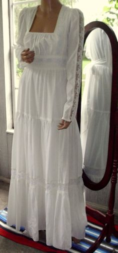 Gunne Sax Dress Romance Style Wedding White with Sky by artemis53