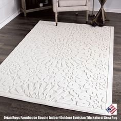 Ivory and beautiful, the Farmhouse Boucle Indoor/Outdoor Tunisian Tile natural area rug is the dreamiest way to bring new style into your home. This rug offers just a hint of exotic style with its neutral colorway, tiled medallion pattern, and satisfying high-low texture...