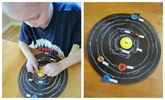 Solar System with Button Planets from Relentlessly Fun, Deceptively Educational. My favorite part about this idea is allowing the child to select an appropriate size/color button for each planet! What great fun my kids would have with this! The sewing on of buttons might be more than what they are ready for right now, but you better believe in a year or so, we are making this!