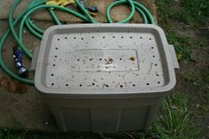 Composting Tote - drill holes in tote lid - add newspaper some dirt and add your egg shells, veggie scraps, peelings etc.  Leave in a shady spot and turn every other week.  You can add your dryer lint to this also -  I might put that on the bottom to start out along with shredded junk mail.
