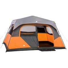 Ozark Trail 8-Person Instant Cabin Tent We own this tent. Fits two queen air mattresses with plenty of walking space. Very spacious!