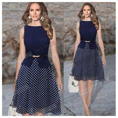 5 x (Women Summer Dresses Dark Blue Women's Vintage Belted Sleeveless Polka Dot Party Wear To Work Chiffon Tunic Dress L