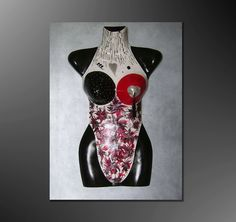 Kunstgalerie Winkler Acryl Malerei Abstrakt Torso Kunstobjekt Skulptur Collage