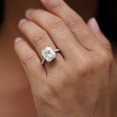 Moissanite radiant cut solitaire diamond cathedral engagement ring
