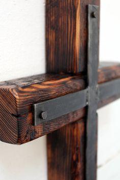 Cross of Reclaimed Wood and Steel by steelwoodandfireshop on Etsy