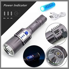 USB Rechargeable Lanterns CREE XML2 LED Flashlight With Power Indicator *** Check out the image by visiting the link.(This is an Amazon affiliate link and I receive a commission for the sales)