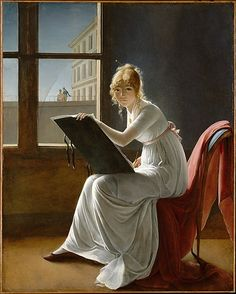 The Metropolitan Museum of Art - Young Woman Drawing  At one time ascribed to Jacques-Louis David, this engaging image has now been recognized as the work of Marie-Denise Villers. Although little known today, Villers was a gifted pupil of Girodet and exhibited in the salons, where her portraits attracted attention. This canvas, which was exhibited in the 1801 Salon, may be a self-portrait.