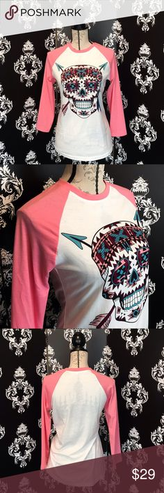 🍀NEW! Indian Sugar Skull Raglan Shirt! This shirt is so beautiful and cool with the Indian sugar skull printed in pink, turquoise and maroon colors, it's a white stretchy shirt with pink 3/4 sleeves. Brand new! Smoke free home. Tops