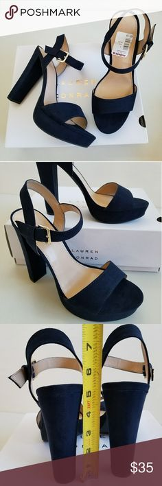"""NWT 5"""" Heels - Because You Can Rock It! New super pretty and sexy platform high high heels. Velvety feel dark navy outer. Cushioned footbed for added comfort. LC Lauren Conrad Shoes Heels"""