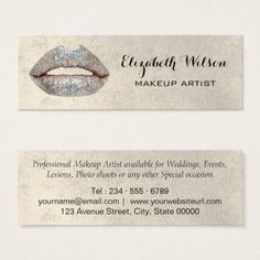 #salon - #faux silver glitter lips Makeup Artist Mini Business Card