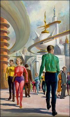 retro futurism / vintage future / utopia / illustration / future city  / vintage science fiction / retro sci fi)