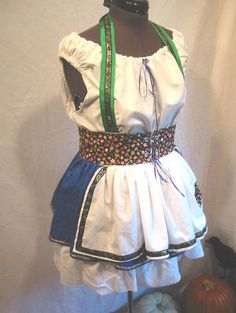 Heidi Dirndl apron dress costume with petticoat  - Custom made in your size. $155.00, via Etsy.