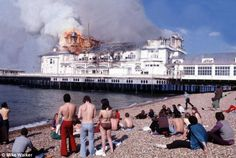 "Southsea's South Parade Pier fire 1974 (during the filming of Ken Russell's film ""Tommy"") Portsmouth England, Stevenage, Hms Victory, Isle Of Wight, Local History, Royal Navy, Hampshire, Old Photos, Seaside"