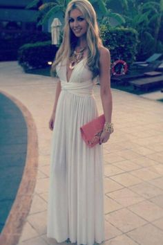 long white dress with low dip in front