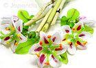 JOPANDA lampwork Beads handmade SRA | First Lilium Stargazer Flower Set