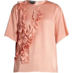 Rochas Ruffle-trimmed silk-satin blouse (2,120 CNY) ❤ liked on Polyvore featuring tops, blouses, light pink, flounce tops, ruffle top, ruffle blouse, frilly blouse and frill blouse