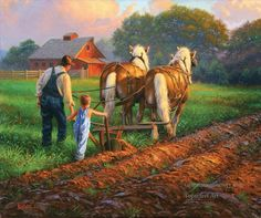 working horses at countryside art for sale at Toperfect gallery. Buy the working horses at countryside oil painting in Factory Price. Arte Country, Country Life, Farm Women, Farm Paintings, Farm Art, Country Scenes, Jolie Photo, Western Art, Horse Art