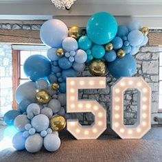 Balloons By Dina on Beautiful hues of blue for this stylish birthday. Balloons by us balloonsbydina Lightup Numbers by marqueeletterstoronto 50th Birthday Balloons, 50th Birthday Party Games, Moms 50th Birthday, 50th Birthday Party Decorations, 50th Birthday Cards, 50th Party, Blue Party Decorations, Blue Birthday, Birthday Month