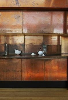 COPPER KITCHEN. Always loved the color palette of patina'd copper, but a whole kitchen in it?