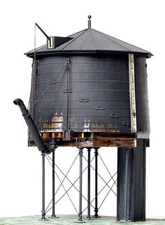 Wooden Water Tank Ho Trains, Model Trains, Mixed Models, Old School House, Water Tower, Train Tracks, Water Tank, Paint Colors, Cabins