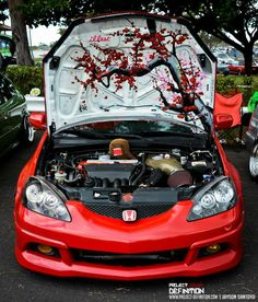 But with the flowers in different shades of pink with the engine bay completely white Honda Civic Car, Honda Civic Hatchback, Honda Cars, Dream Cars, Soichiro Honda, Best Jdm Cars, Custom Car Interior, Cute Car Accessories, Street Racing Cars