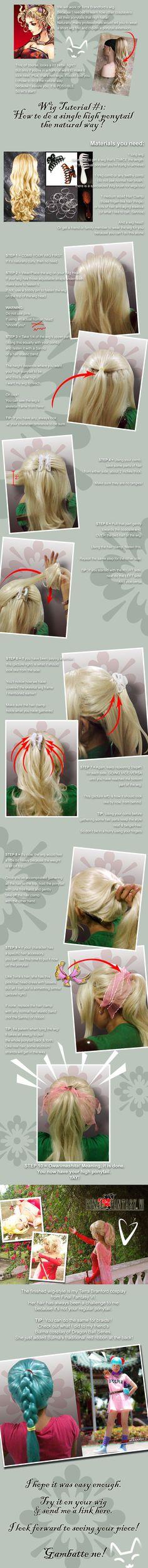 Wig Tutorial: 1 high ponytail by kasaikun16.deviantart.com on @deviantART