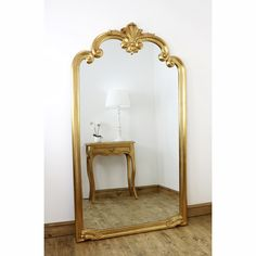 Ornate full length mirror with hand finished gold scroll design frame. A beautiful mirror ideal for a hallway, dressing room or bedroom. Large Vintage Mirror, Large Gold Mirror, Gold Ornate Mirror, Extra Large Mirrors, Circular Mirror, Oversized Mirror, Full Length Mirror Gold, Gold Floor Mirror, Hallway Mirror