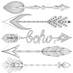 Bohemian Arrows set with feathers. Hand drawn decorative Arrows for adult coloring pages, art