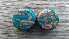 Custom Ear Plugs, Native Spirit Ear Gauges, Copper and Turquoise, 8 G (3.2 mm) to 1 inch (25 mm) Larger Sizes Also Available