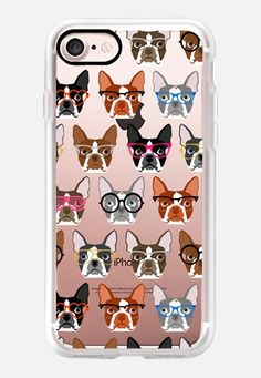 Casetify iPhone 7 Classic Grip Case - Boston Terriers in Glasses - boston terrier iphone 6 case, boston terrier clear case, boston terrier dog case, boston terrier glasses case, funny boston terrier case, cute boston terrier case, colored boston terriers by Pet Friendly #Casetify