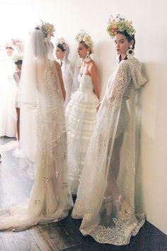Wedding Dresses Backstage at Naeem Khan Fall 2016 Bridal Fashion Week photos by The Lane Wedding Dress Trends, Wedding Gowns, Wedding Bride, Wedding Mandap, Post Wedding, Wedding Receptions, Glamour, Mode Inspiration, Wedding Inspiration