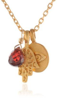 "Satya Jewelry ""Classics'13"" Garnet Gilded Chain Necklace -"