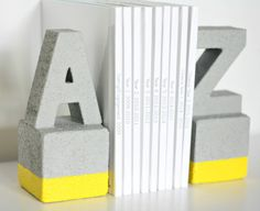 Use this fun tutorial with FolkArt Painted Finishes, FloraCraft foam, and Smooth Finish to create these awesome faux cement DIY book ends!
