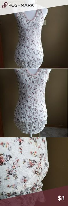Maurices  Large Floral fish net top Maurices Large fish net floral top. Pink lace trim Gathers at the bottom. See photos for measurements Maurices Tops Tank Tops
