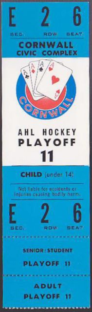 AHL Cornwall Aces  Playoffs stub