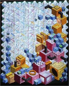 another remarkable quilt with effect Geometric Quilt, Hexagon Quilt, Tumbling Blocks Quilt, Quilt Blocks, Quilting Projects, Quilting Designs, Optical Illusion Quilts, Optical Illusions, Bright Quilts