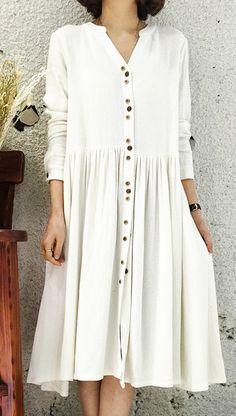White Linen dress for summer designed in 2016