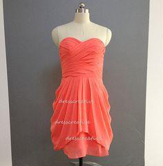 Coral Short Bridesmaid Dress Custom Chiffon by DressCreative, $88.00