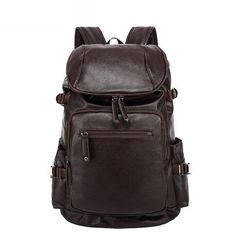 310d083202fa Fashion Vintage Men Backpack Casual Travel Bag Oil Wax Leather Laptop Bag  Colleg Backpack Travel Bag